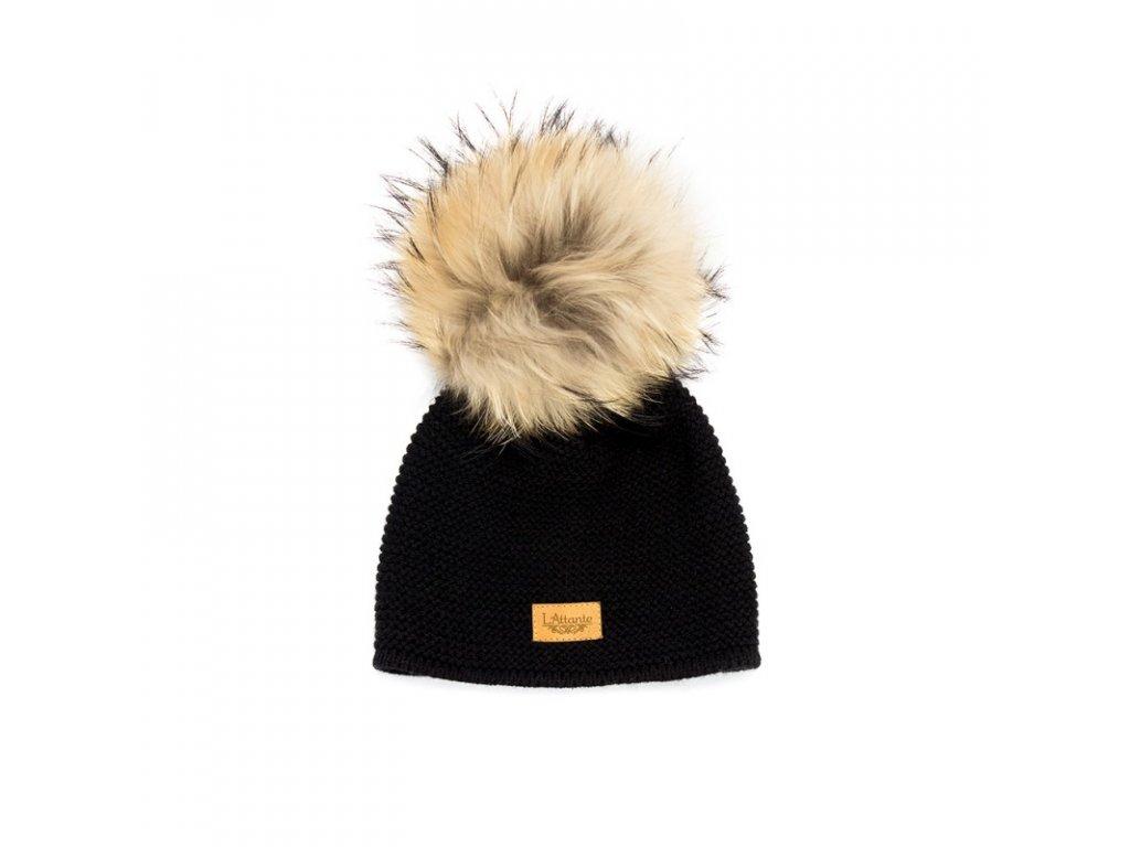95889b395 Lattante jarná čiapka pravá kožušina čierna spring cap nature fur black