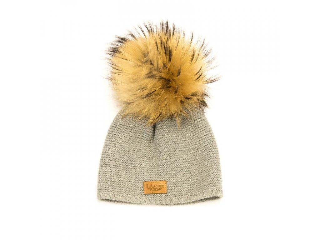 8cbb687c5 Lattante jarná čiapka pravá kožušina šedá spring cap nature fur grey