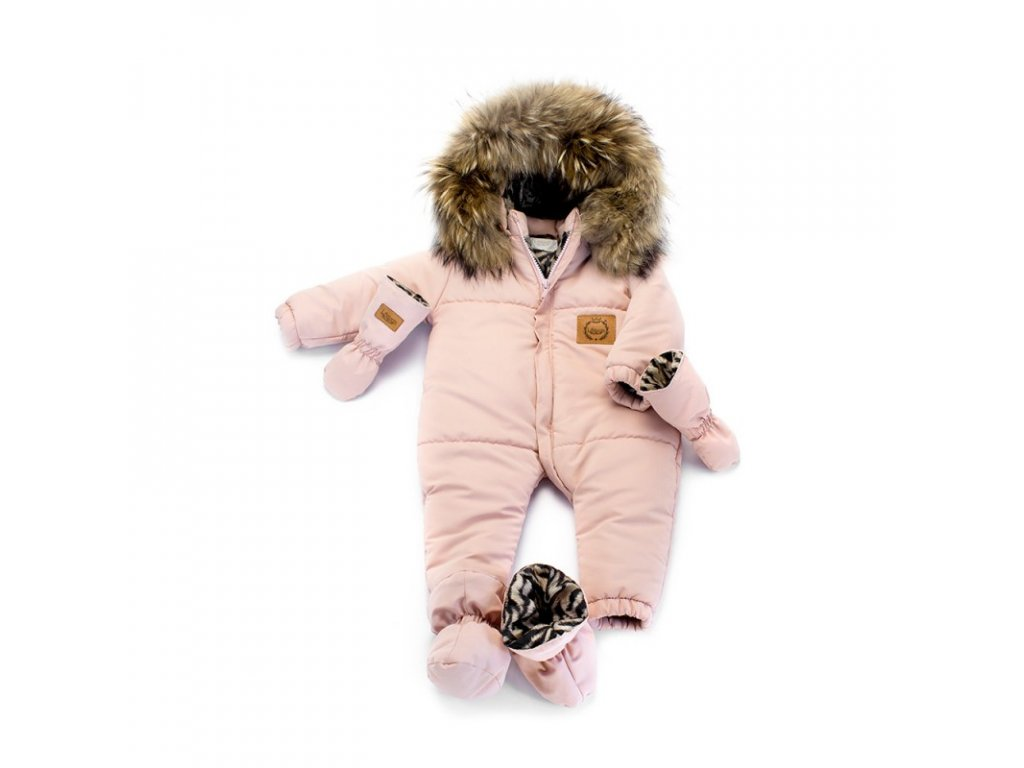 9567aff1f Lattante zimný overal pravá kožušina bledo ružová winter jumpsuit nature  fur powder pink 1