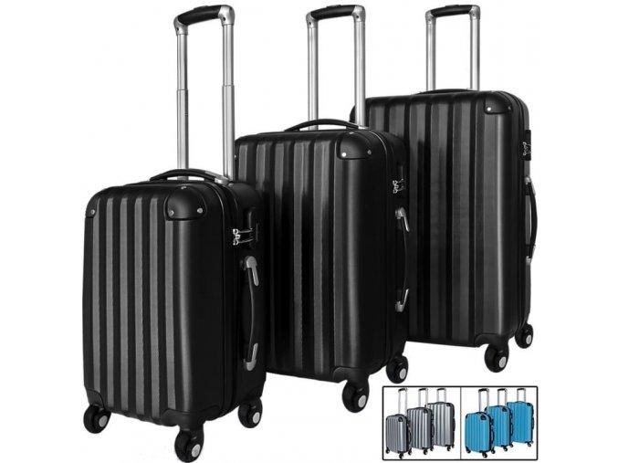 4731 1 set 3 cestovnich kufru z tvrdeho abs plastu cerny kufr