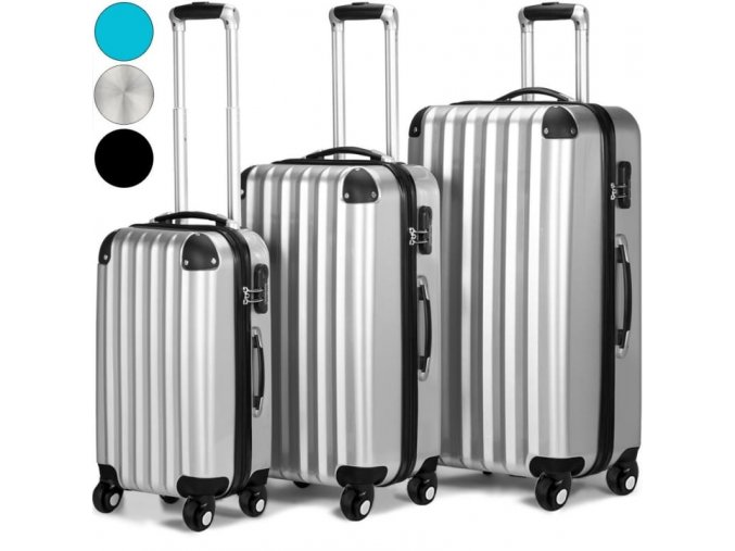 4719 3 set 3 cestovnich kufru z tvrdeho abs plastu stribrny kufr