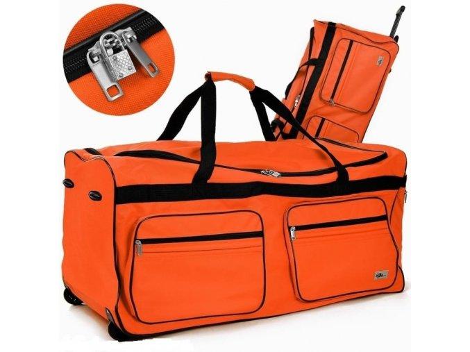 4737 4 cestovni taska na koleckach xxl oranzova
