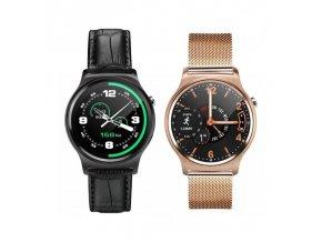 Smart Watch GW01 (MaterialHodinek Černé s koženým černým páskem)
