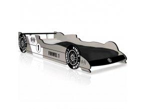 Dětská postel Formule 1 závodní lůžko,černo-stříbrná/modrá (Barva Stříbrná)