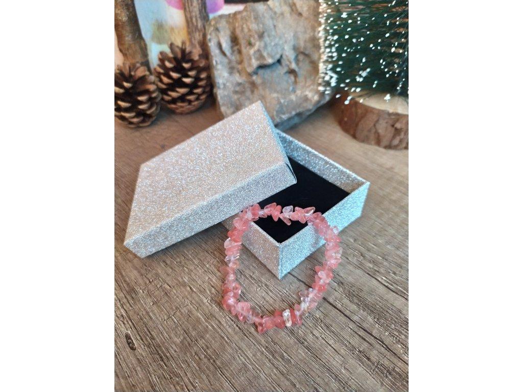 Náramek z tromlovaných kamenů Obsidian růžový