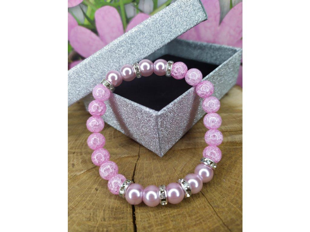 Náramek růžový křišťál s perlami