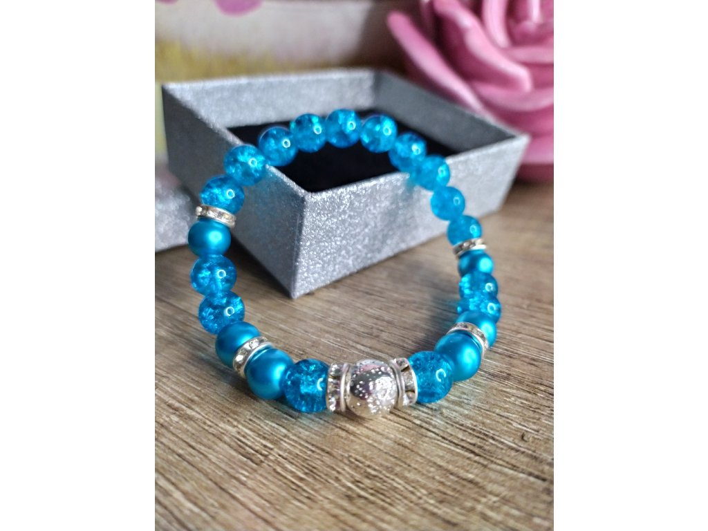 Náramek modrý křišťál perlový