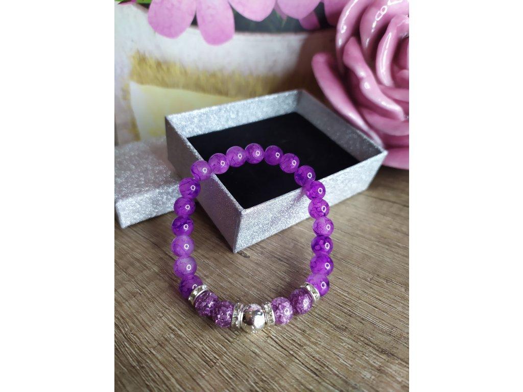Náramek fialový elegant s křišťálem