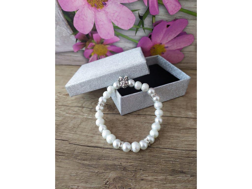 Minnie náramek perlový bílý
