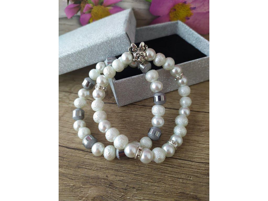 Sada 2 náramky perlové bíle s Minnie