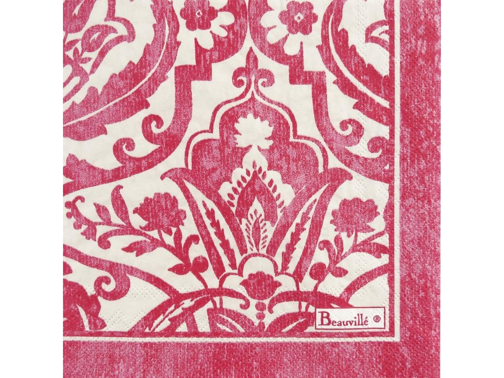 Saint-Tropez růžový papírový ubrousek 33x33 cm, Beauvillé
