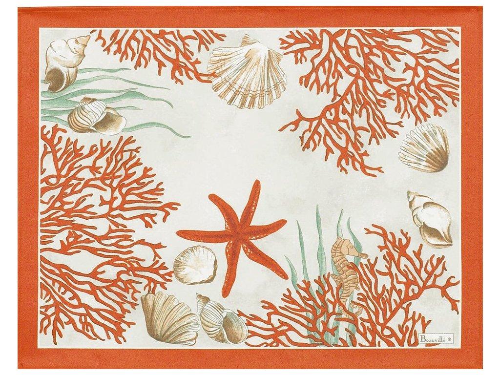 Beauvillé Corail červená prostírka 38x48 cm