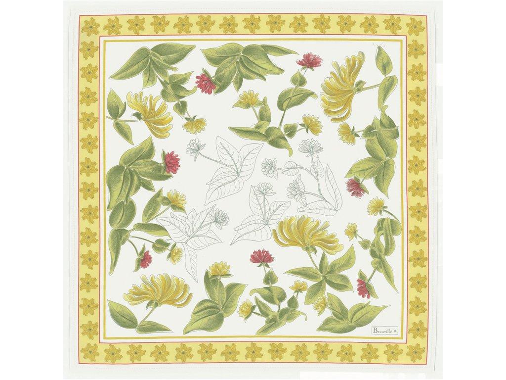 Beauvillé Jardins žlutý ubrousek 52x52 cm