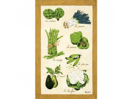 Beauvillé Legumes Verts utěrka 50x80 cm