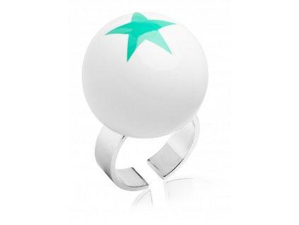 Ballsmania Bílý prsten s tyrkysovou hvězdou STARS BIANCO VERDE ELETTRICO