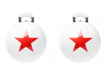 Ballsmania Bílé klipsy s červenou hvězdou STARS STELLE ROSSE