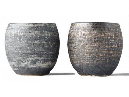 Made In Japan Giftware Sada 2 hrnků na čaj Sho-chu stříbrá a bronzová