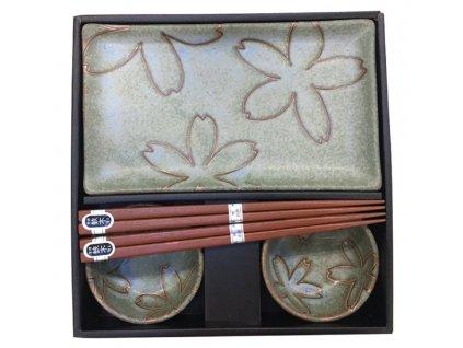 Made In Japan Giftware Zelená Sushi sada s květinovým motivem 6 kusů