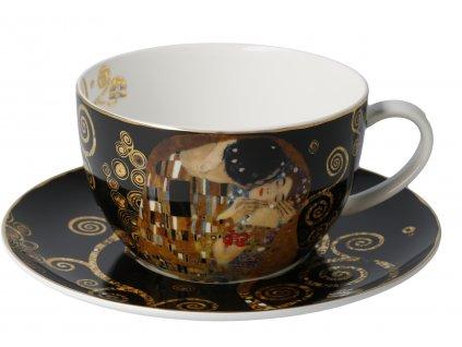 Goebel Klimt Cappuccino šálek a podšálek Polibek