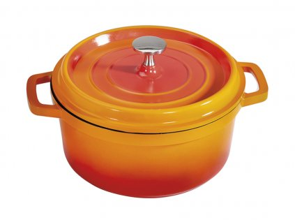 GET Heiss Induktion Oranžový kulatý hrnec / pekáč s poklicí