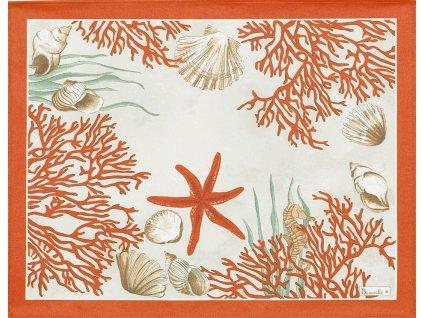 Beauvillé Corail červená prostírka s ochranou proti ušpinění 38x48 cm