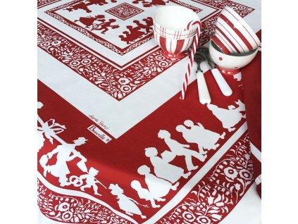 Beauvillé SILHOUETTES HANSI červený ubrus 100x100 cm