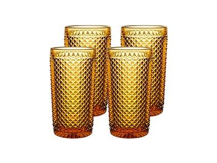 Vista Alegre Bicos Vysoké sklenice na vodu jantarové 4 kusy