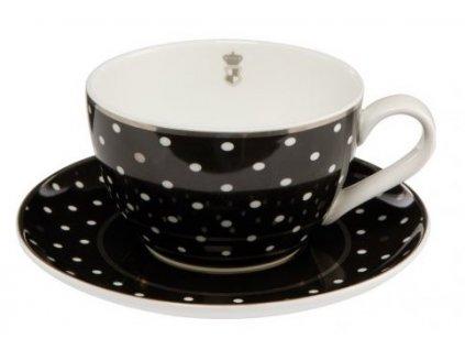 Goebel Chateaux Black & White Dots Kávový šálek s podšálkem