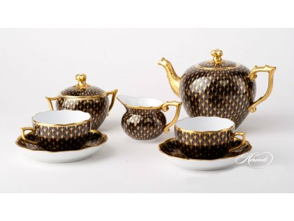 gold black fishnet tea set herend h1 1