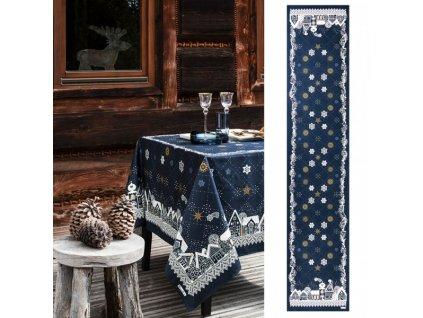 NUIT ETOILÉE modrý běhoun 50x250 cm, Beauvillé