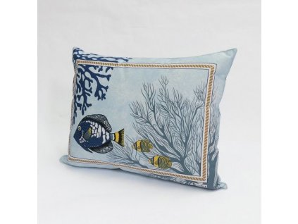 Beauvillé Porquerolles povlak modrý na polštář 40x50 cm