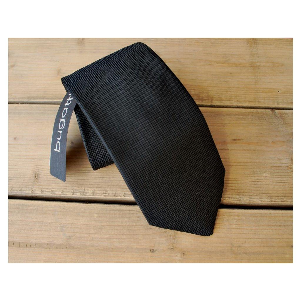 Luxusní kravata Bugatti - černá s jemným vzorem