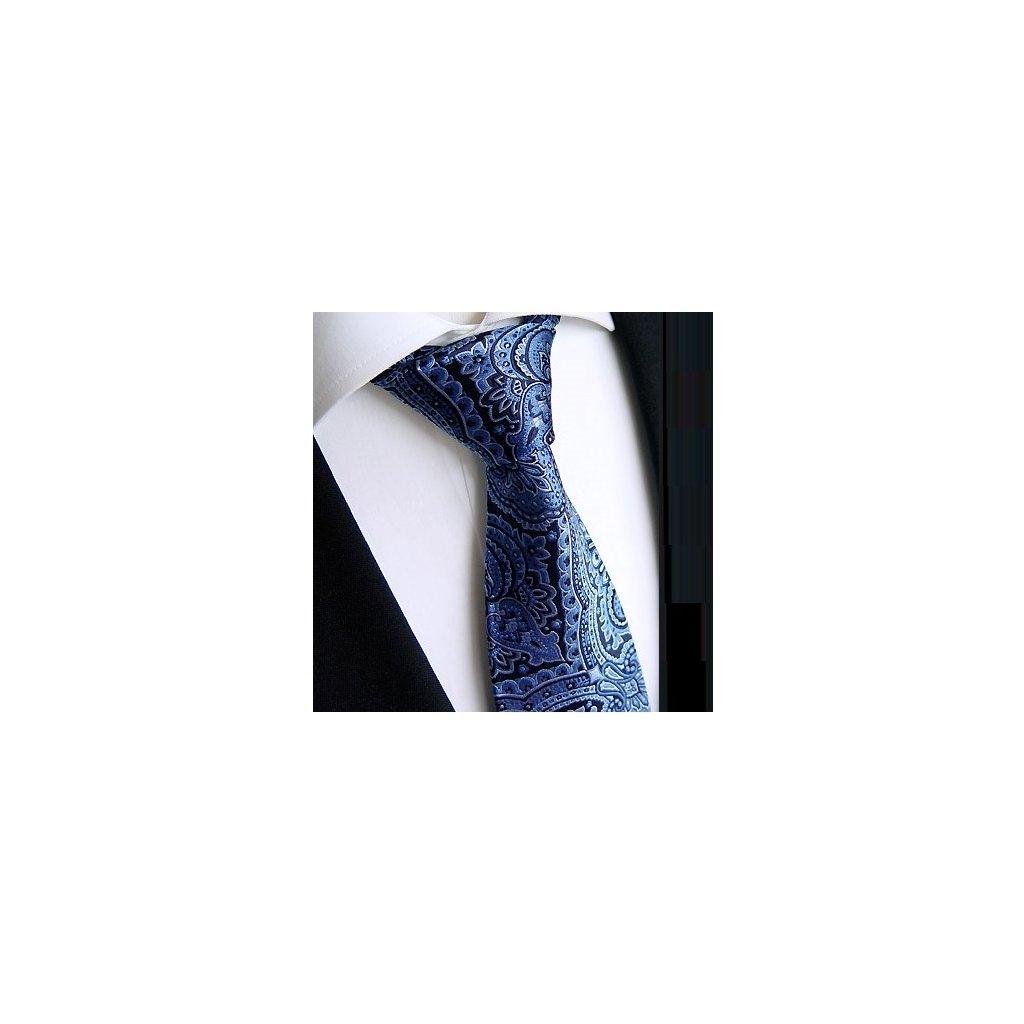 Beytnur 225-1 hedvábná kravata černo modrá paisley