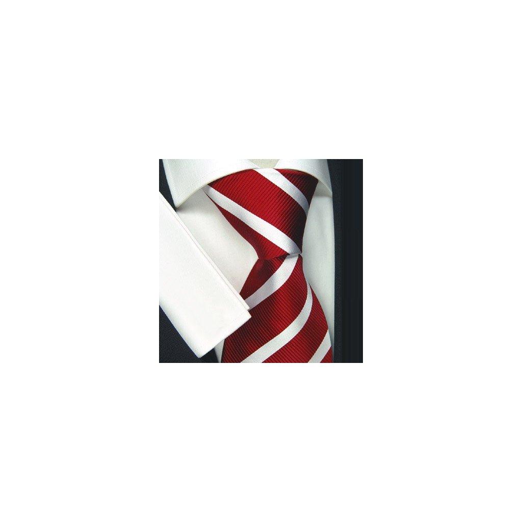 Tmavě červená hedvábná kravata Beytnur 2-3 s pruhem