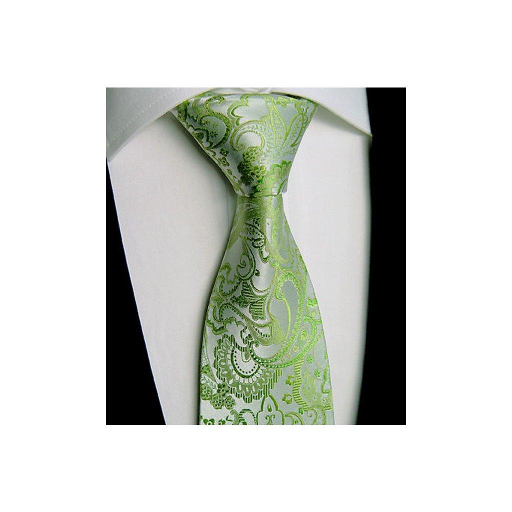 Beytnur 229-1 hedvábná zelená kravata, paisley