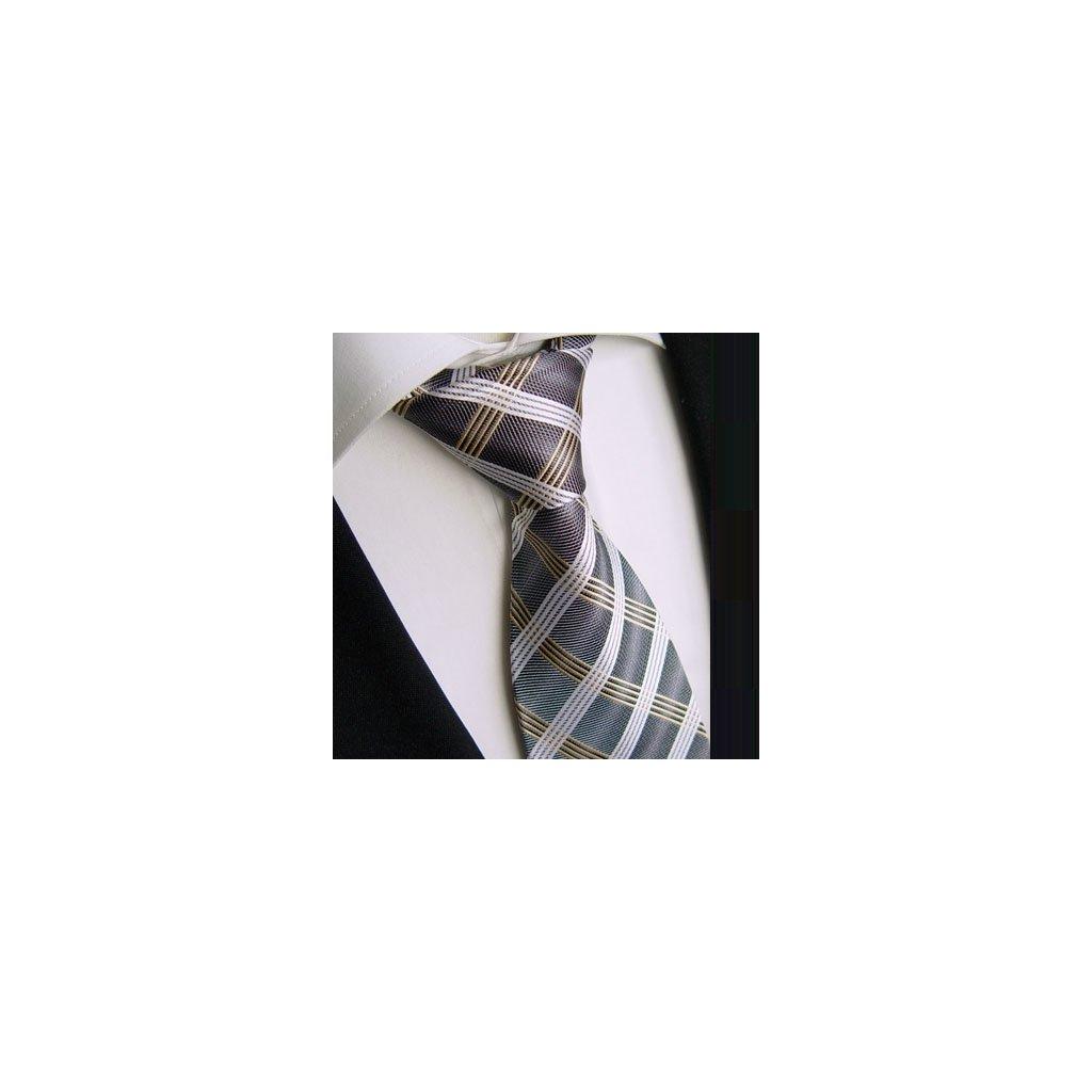 Beytnur 169-3 nádherná kravata šedo stříbrná kostička