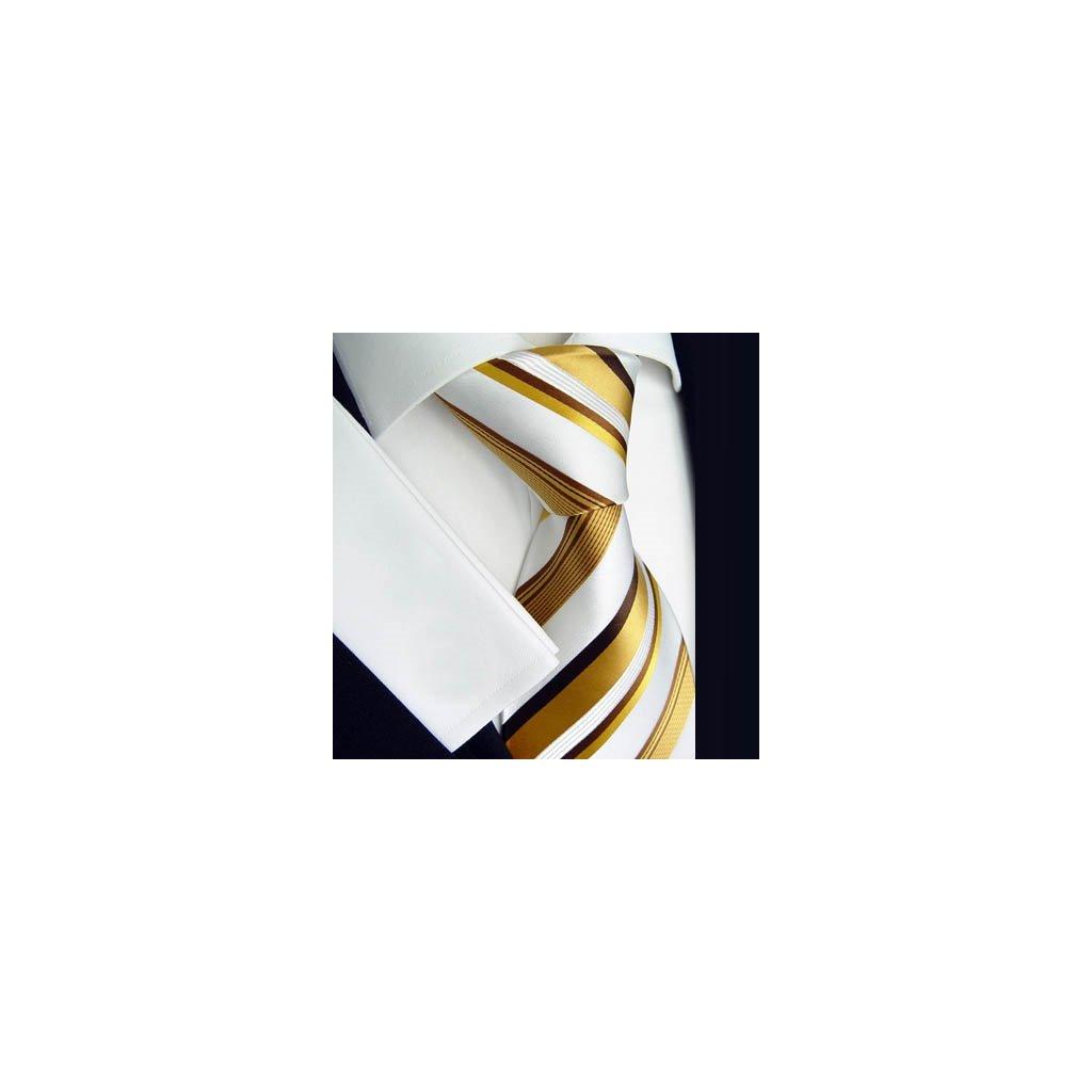 Luxusní bílo zlatá kravata Beytnur 163-2