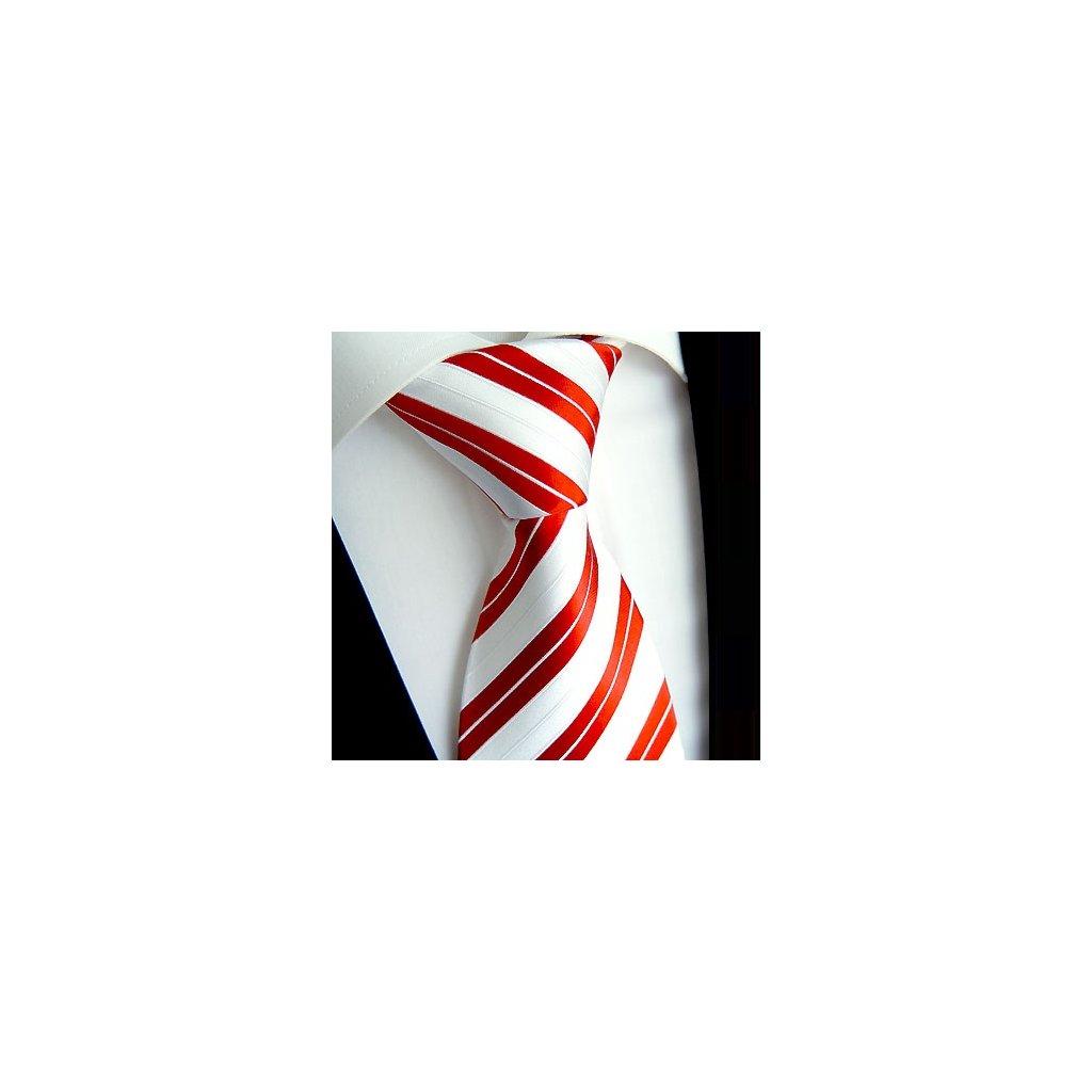 Hedvábná kravata Beytnur 128-5 červená bílá