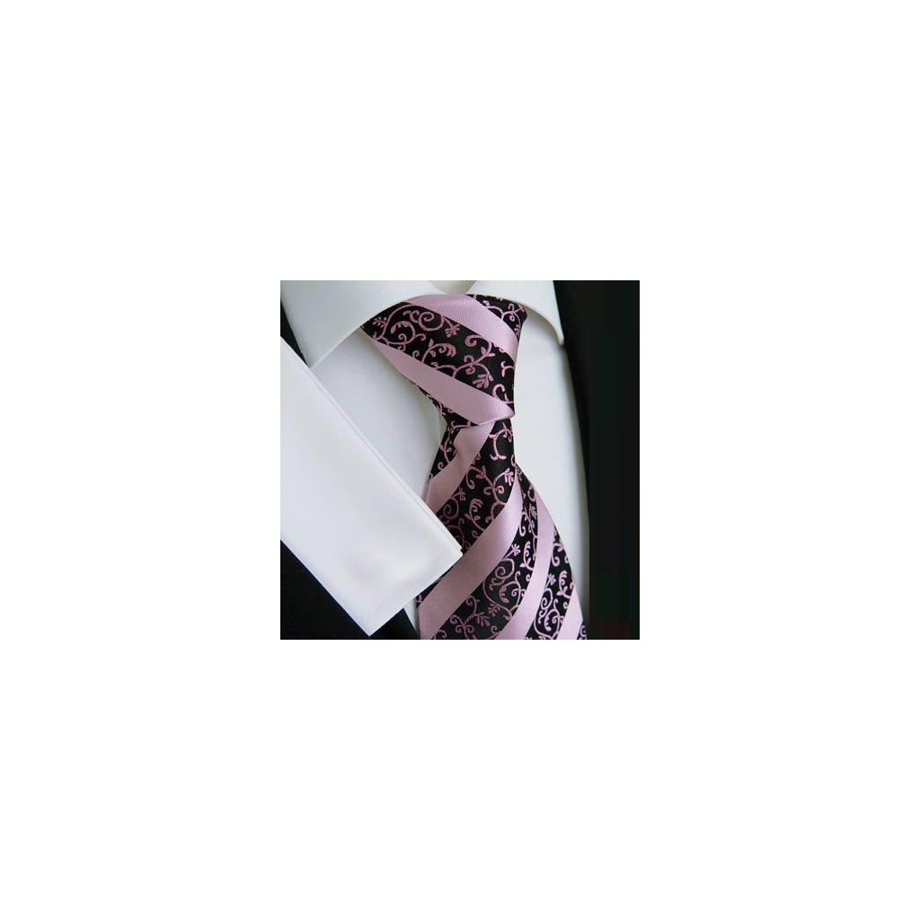 Beytnur 178-1 luxusní hedvábná kravata černo růžová