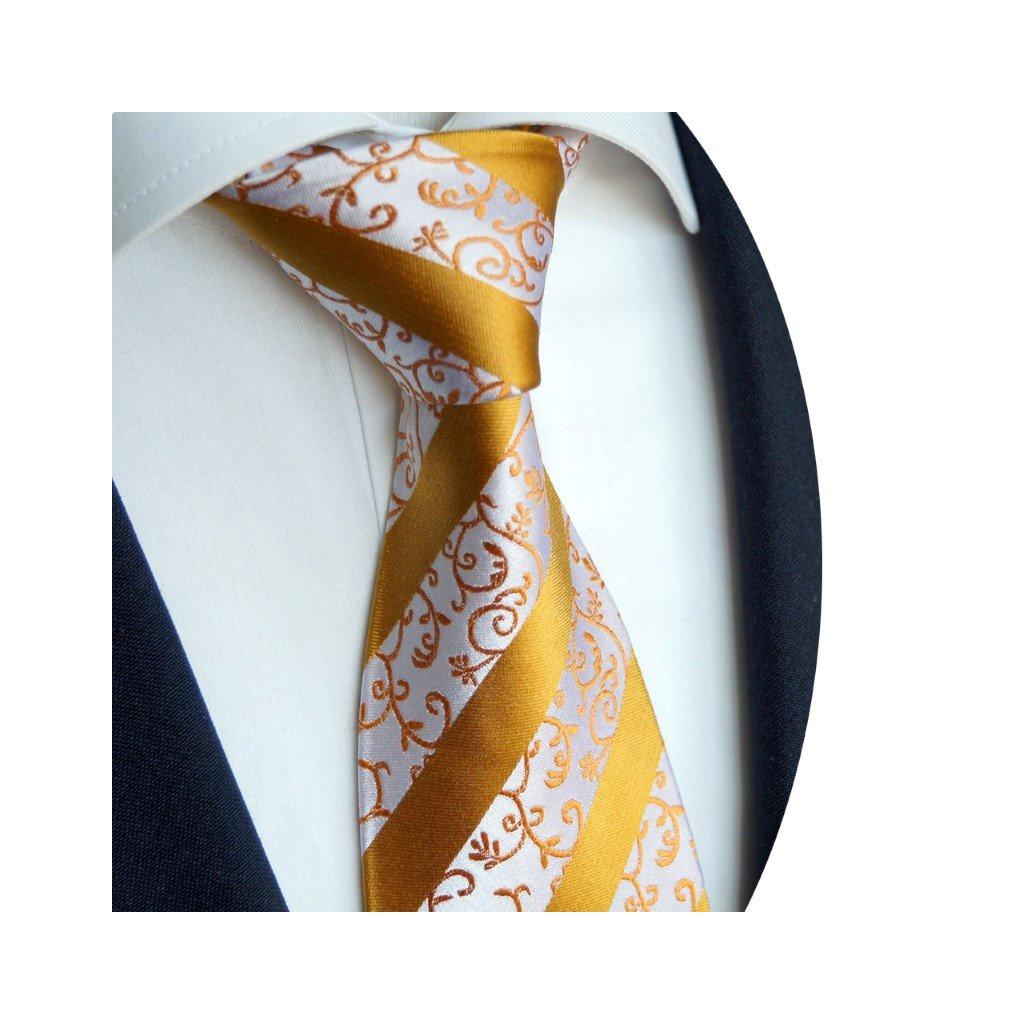 Beytnur 178-2 luxusní hedvábná kravata zlatooranžový vzor