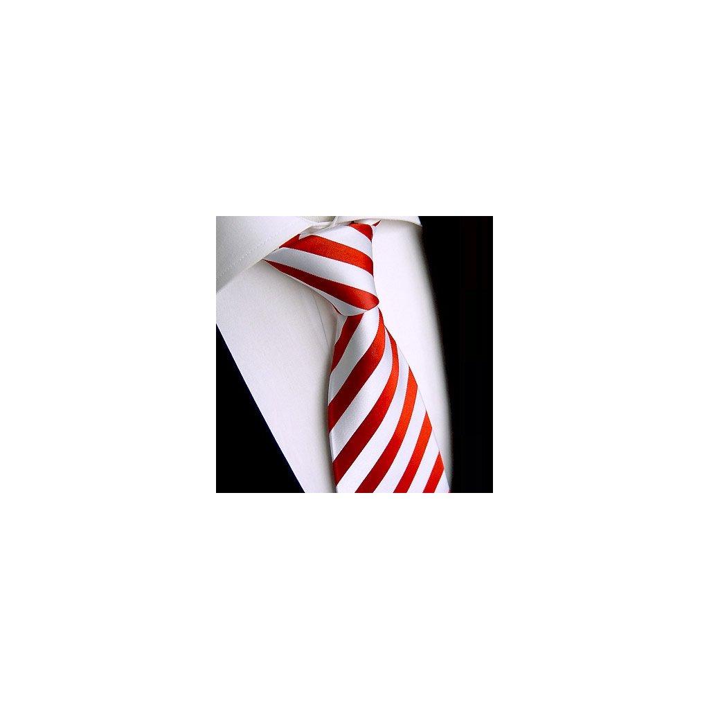 Hedvábná kravata Beytnur 220-1 bílo červená