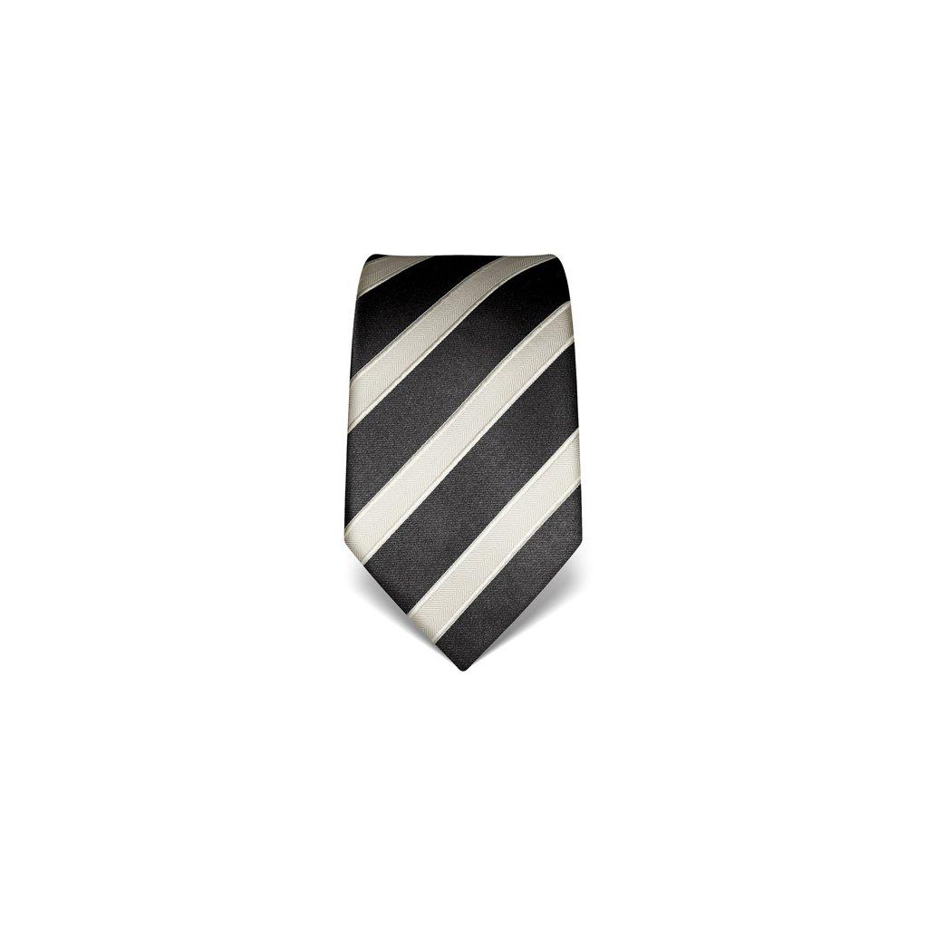 Antracitová kravata Vincenzo Boretti 21949 - s šedým pruhem