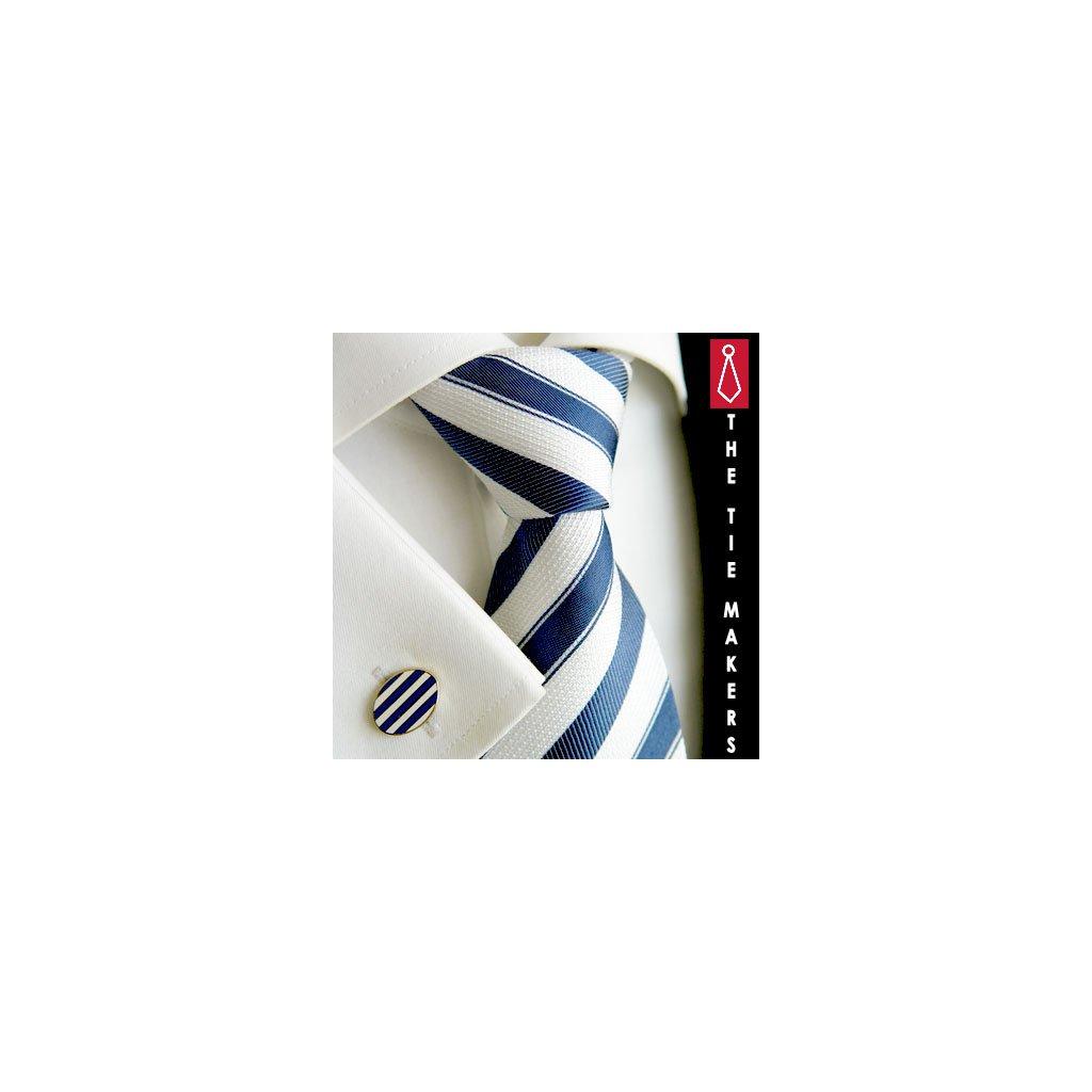 Luxusní hedvábná kravata světlá  s tm. modrým pruhem 211-45