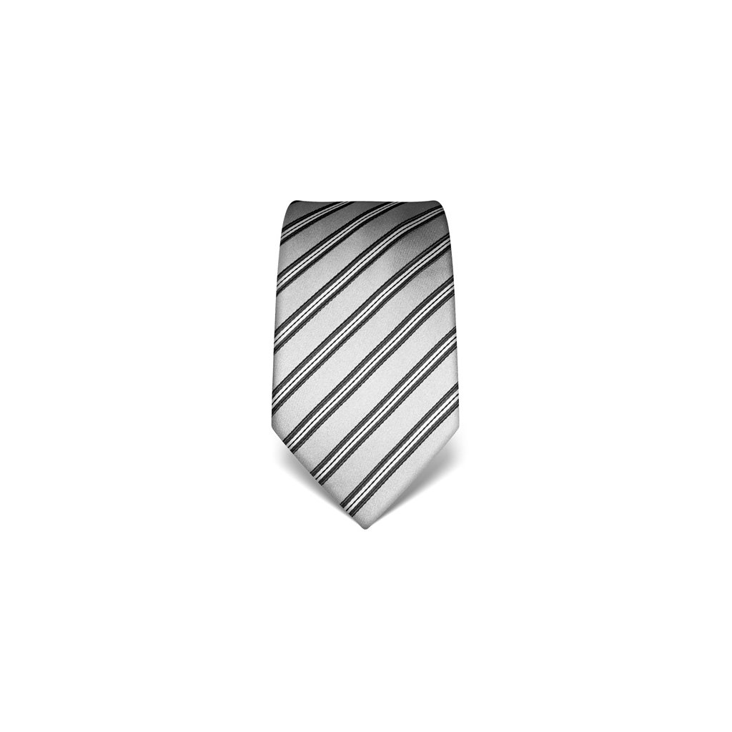 Pruhovaná kravata Vincenzo Boretti 21998 - stříbrná