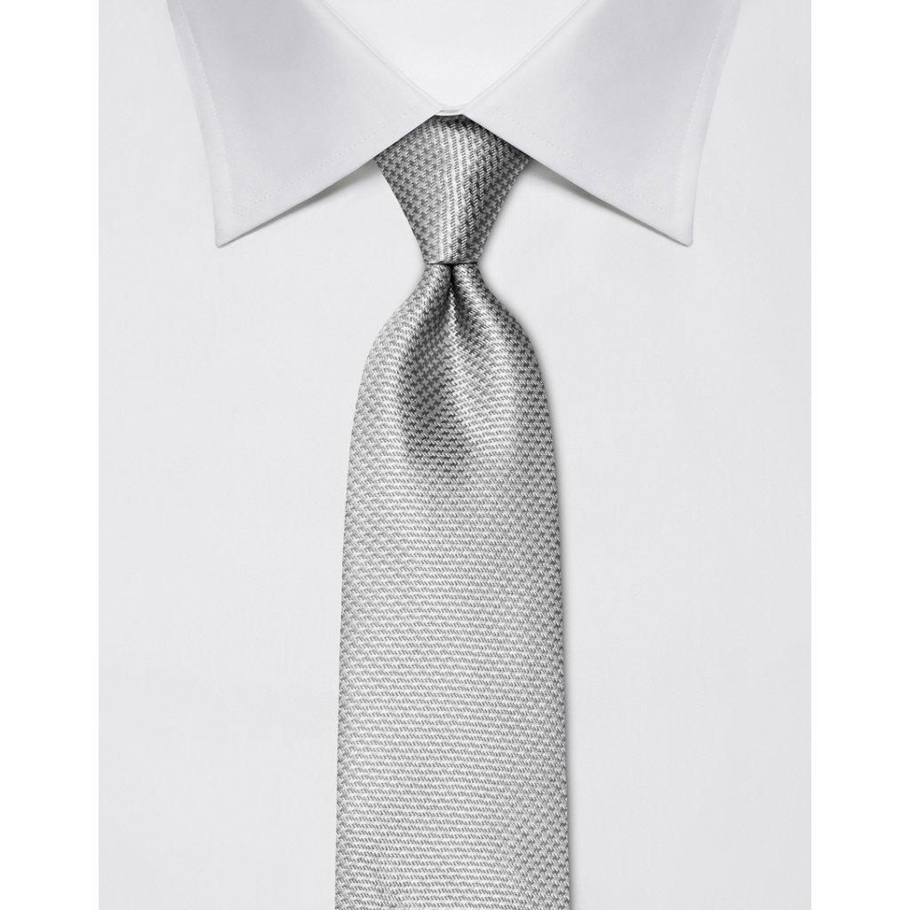 Antracitová kravata Vincenzo Boretti 21989 - kohoutí stopa