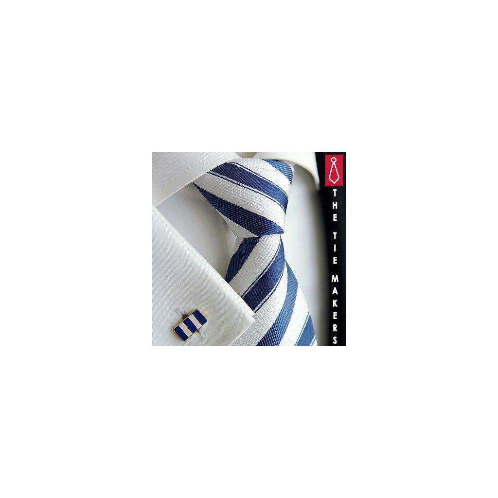 Luxusní hedvábná kravata světlá  s tm. modrým pruhem 211-48