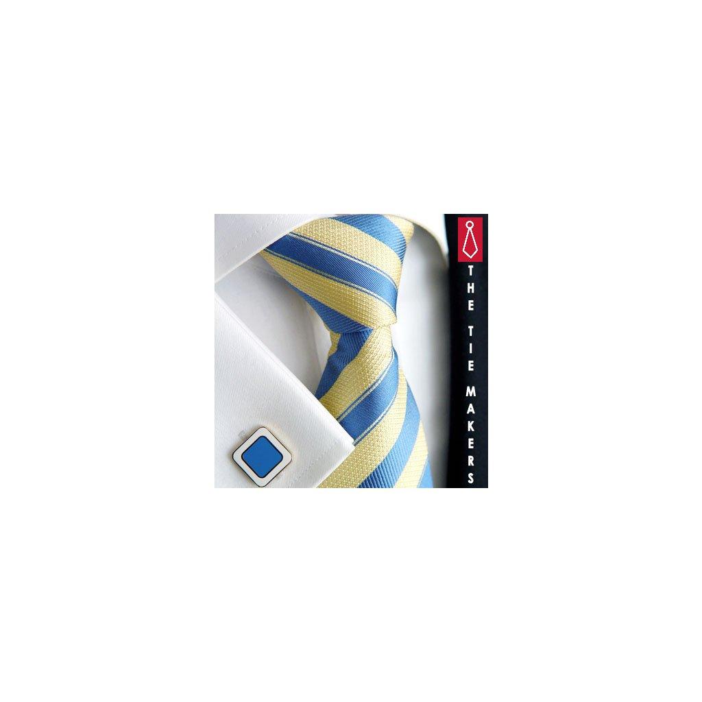 Luxusní hedvábná kravata žlutá s modrým pruhem 211-1M