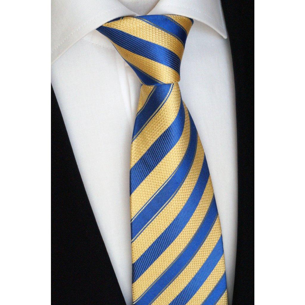 Luxusní hedvábná kravata žlutá s modrým pruhem 211-1aM