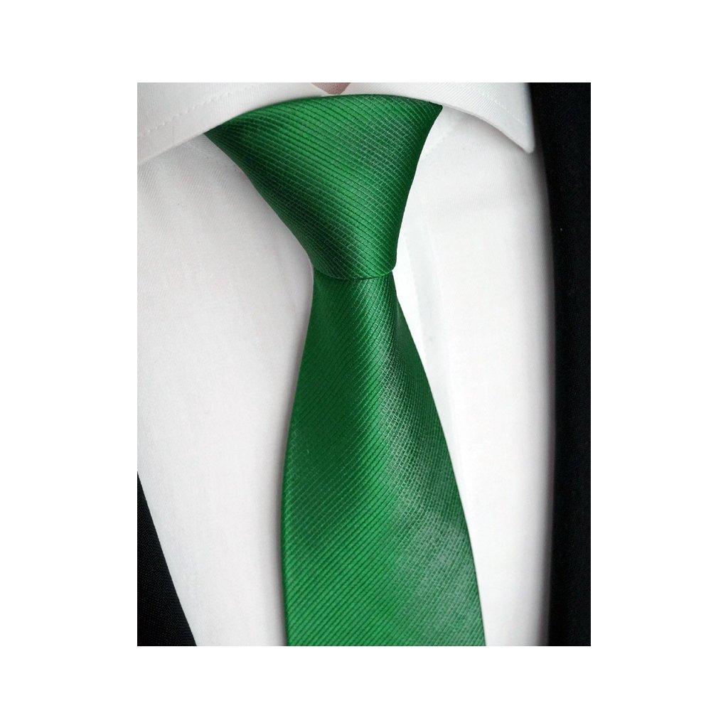 Zelená hedvábná kravata 76-11