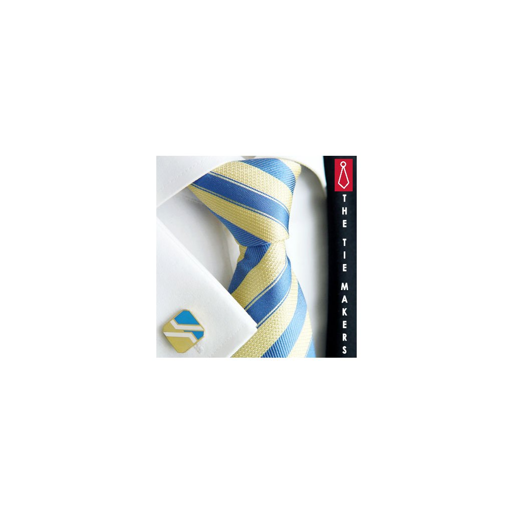 Luxusní hedvábná kravata žlutá s modrým pruhem 211-1
